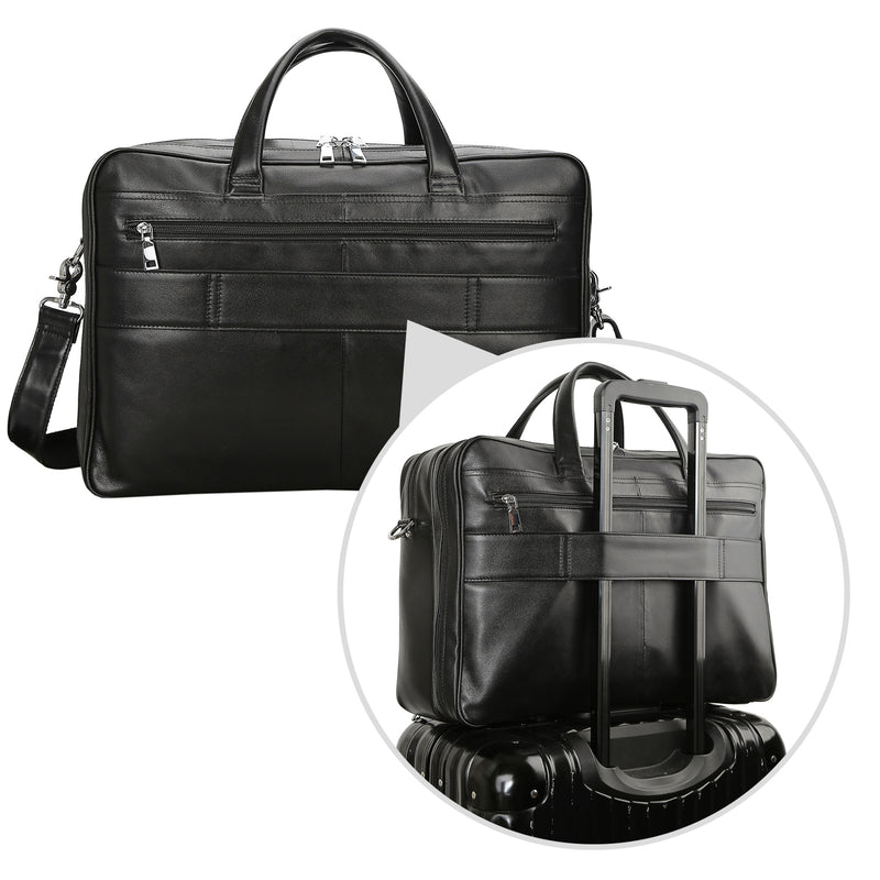 Polare 17'' Briefcase Shoulder Messenger Business Bag (Black, Back)