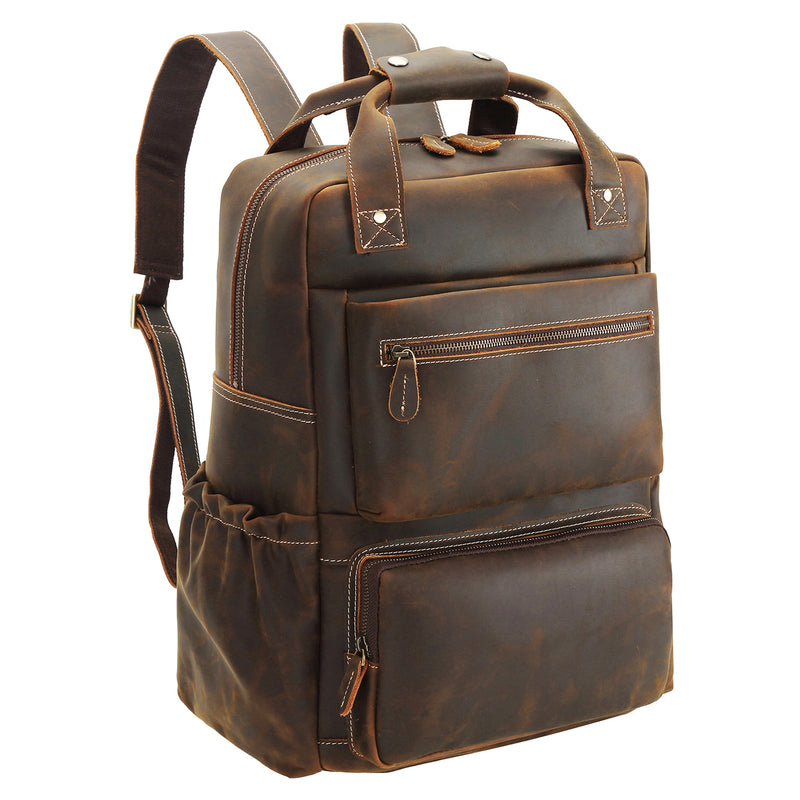 "Polare 15.6"" Full Grain Italian Leather Backpack  Laptop Bag"