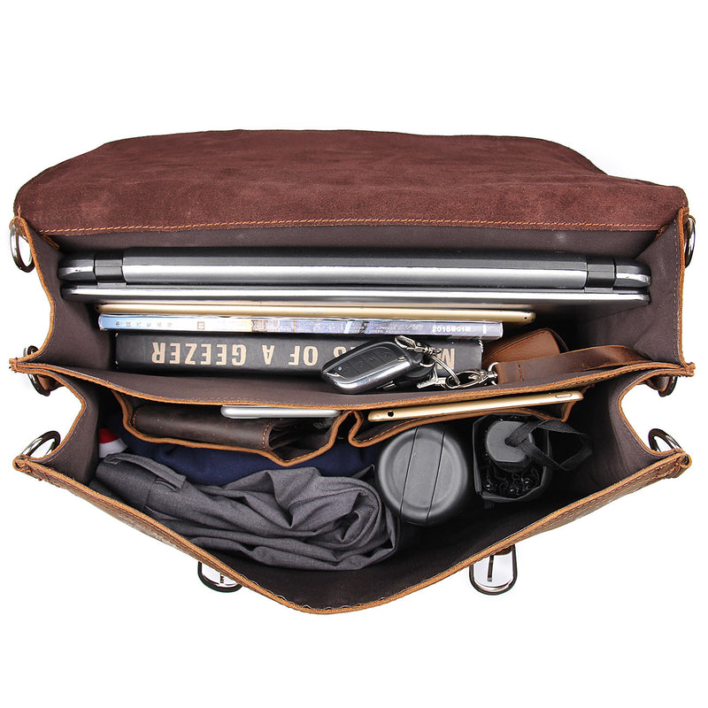"Polare 16"" Full Grain Leather Briefcase Shoulder Messenger Bag (Brown, Inside)"