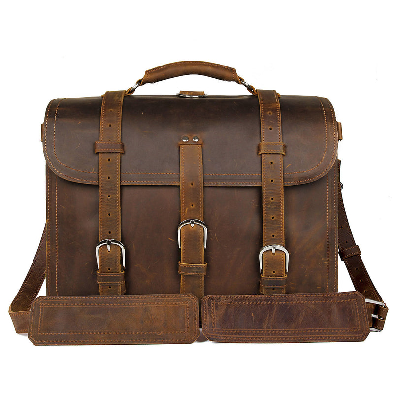 "Polare 16"" Full Grain Leather Briefcase Shoulder Messenger Bag (Brown, Front)"