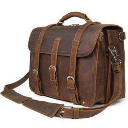 "Polare 16"" Full Grain Leather Briefcase Shoulder Messenger Bag (Brown)"