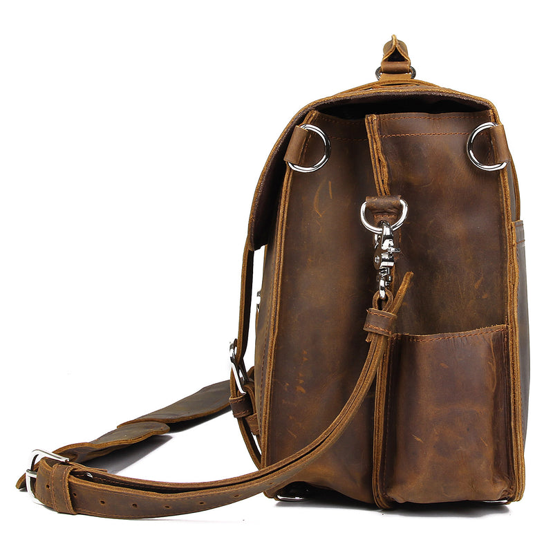 "Polare 16"" Full Grain Leather Briefcase Shoulder Messenger Bag (Brown, Profile)"