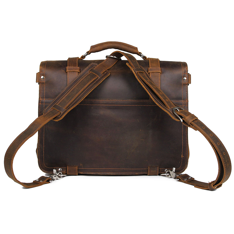 "Polare 16"" Full Grain Leather Briefcase Shoulder Messenger Bag (Brown, Back)"