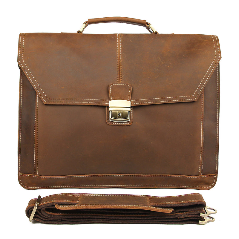 "Polare Leather Men's Briefcase Fit 15.6"" Laptop (Front)"