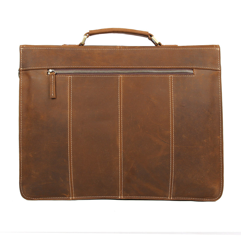 "Polare Leather Men's Briefcase Fit 15.6"" Laptop (Back)"