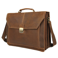"Polare Leather Men's Briefcase Fit 15.6"" Laptop"