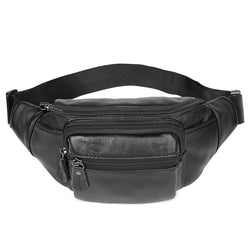 Polare Small Genuine Leather Fanny Pack/Waist Bag (Black)