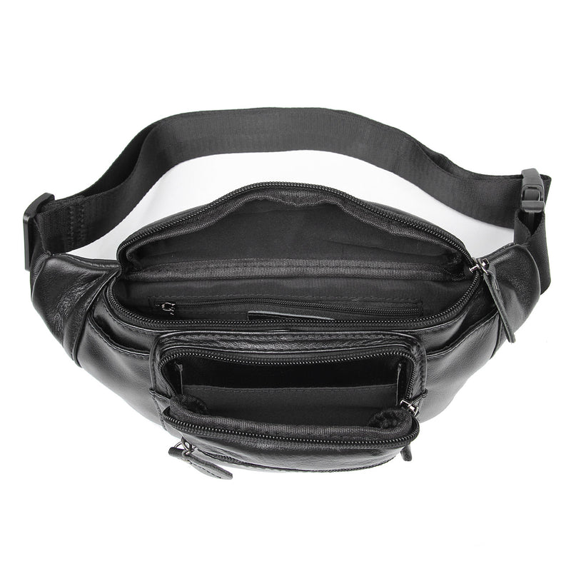 Polare Small Genuine Leather Fanny Pack/Waist Bag (Black, Inside)