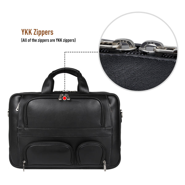 Polare 17'' Real Leather Laptop Carry On Overnight Bag Business Briefcase (Black, Front)