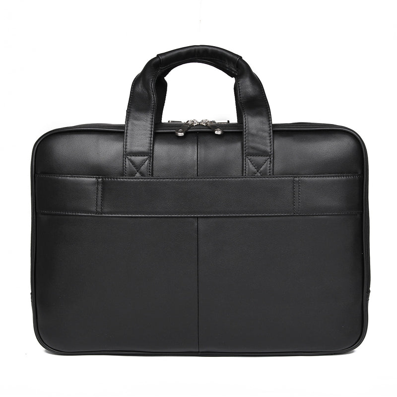 Polare 17'' Real Leather Laptop Carry On Overnight Bag Business Briefcase (Black, Back)