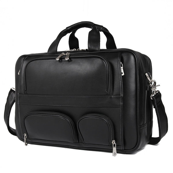 Polare 17'' Real Leather Laptop Carry On Overnight Bag Business Briefcase (Black)