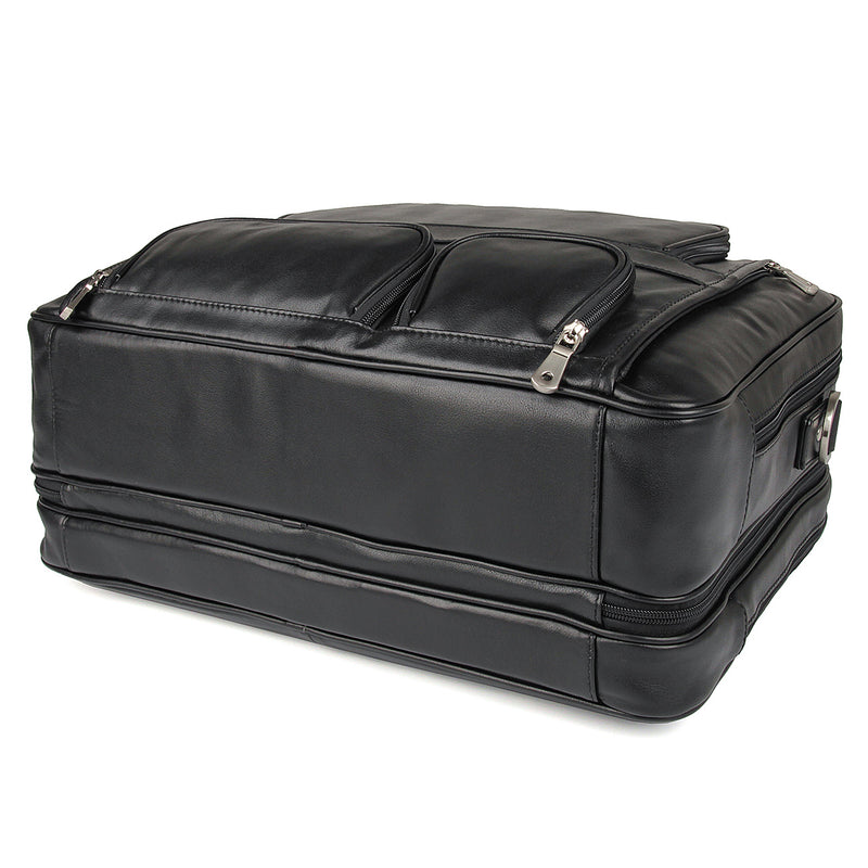 Polare 17'' Real Leather Laptop Carry On Overnight Bag Business Briefcase (Black, Bottom)