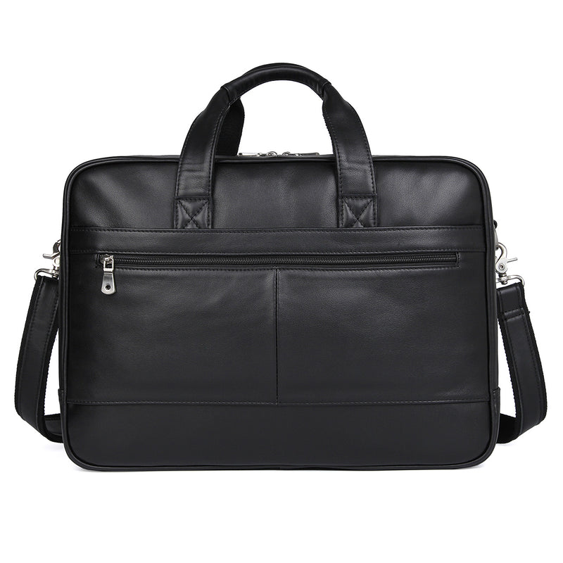 "Polare 17"" Real Italian Leather Laptop Case Professional Briefcase Business Bag (Black, Back)"
