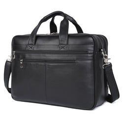 "Polare 17"" Real Italian Leather Laptop Case Professional Briefcase Business Bag (Black)"