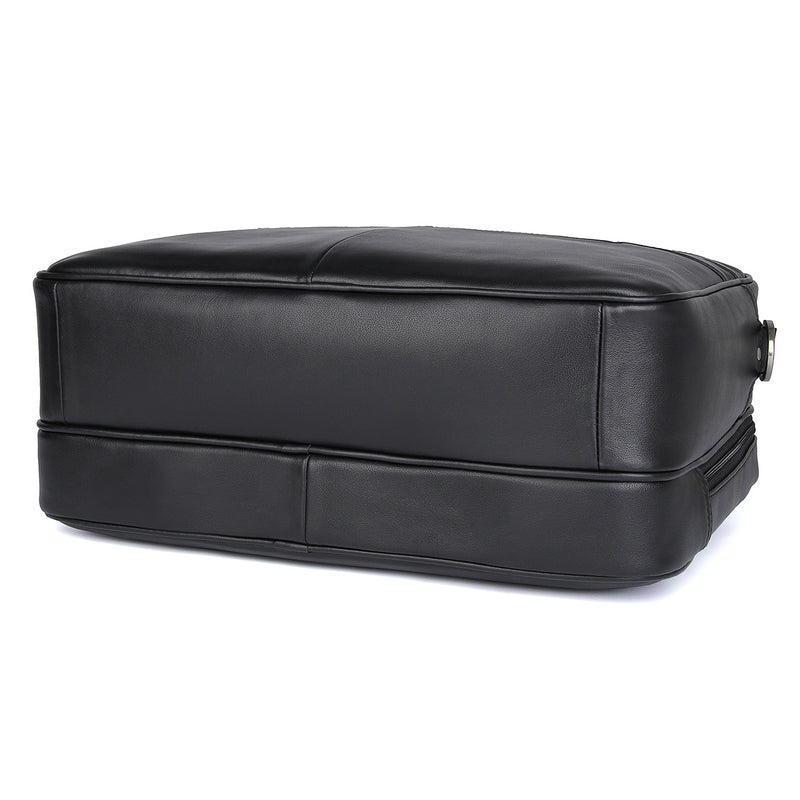 "Polare 17"" Real Italian Leather Laptop Case Professional Briefcase Business Bag (Black, Bottom)"