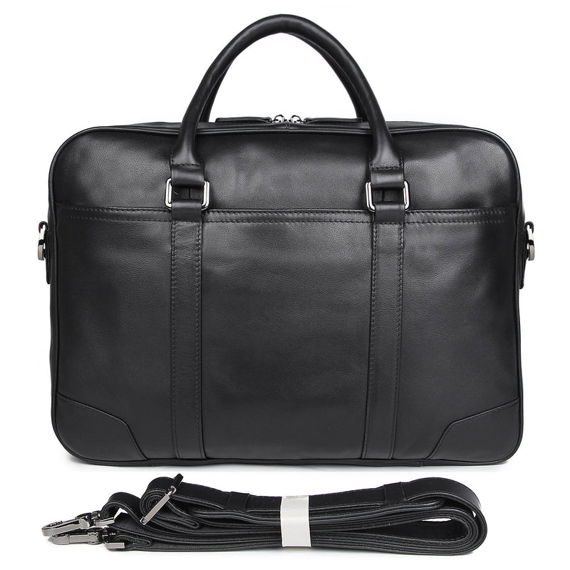 Polare 16'' Soft Real Leather Laptop Briefcase Business Bag (Black, Front)