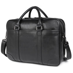 Polare 16'' Soft Real Leather Laptop Briefcase Business Bag (Black)