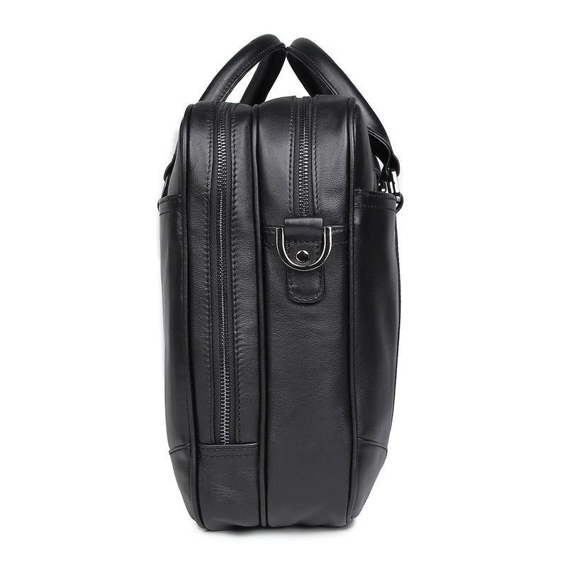 Polare 16'' Soft Real Leather Laptop Briefcase Business Bag (Black, Profile)