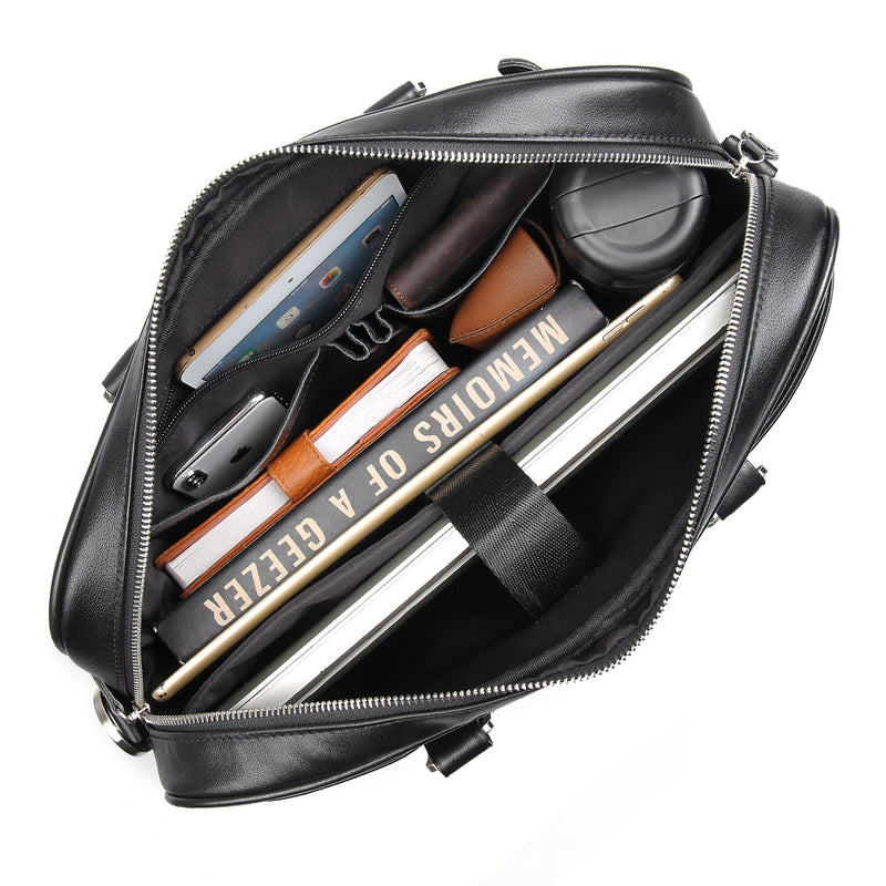Polare Leather Business Laptop Briefcase (Black, Inside)