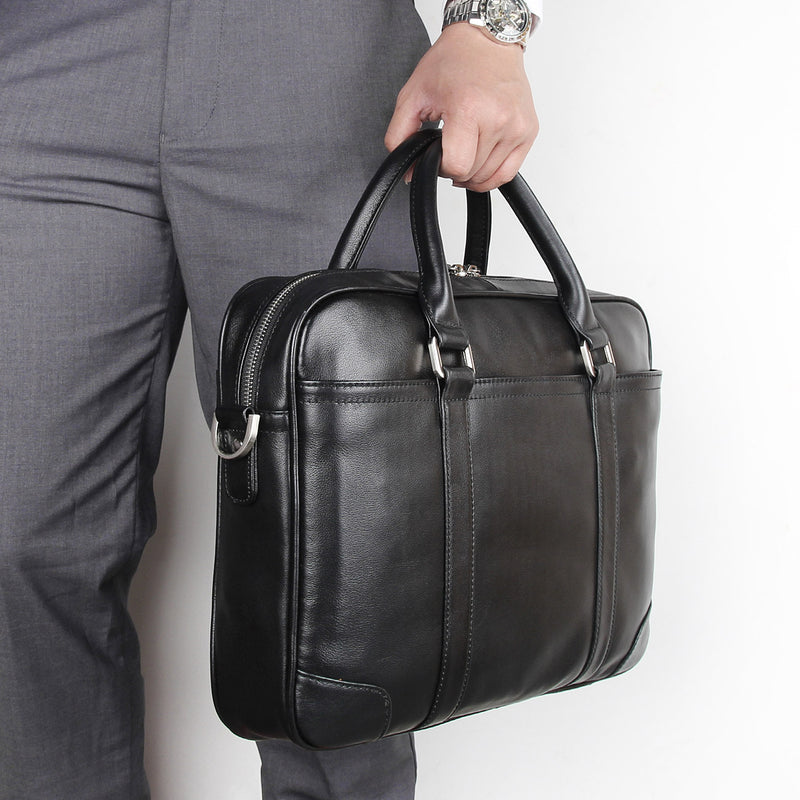 "Polare 15.6"" Retro Genuine Leather Laptop Messenger Bag Office Briefcase"