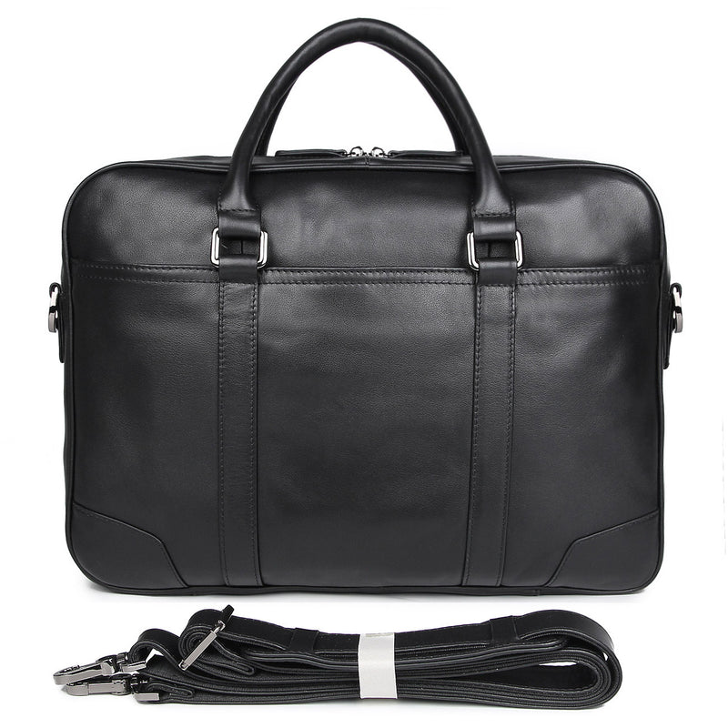 Polare Leather Business Laptop Briefcase (Black, Front)