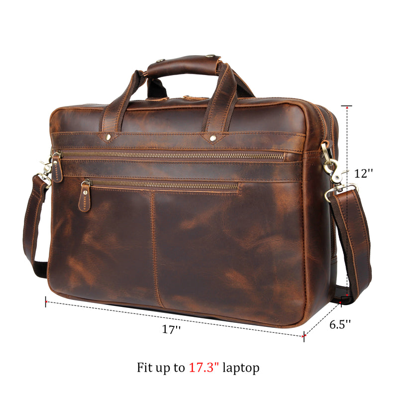 Polare 17'' Computer Briefcase Business Case For Men With Full Grain Leather (Dimension)