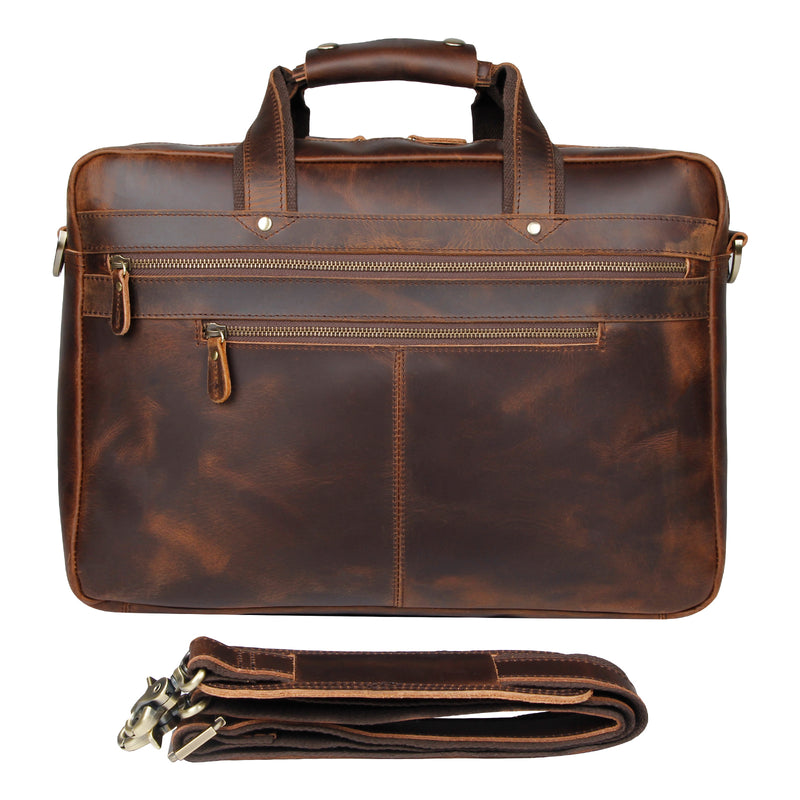 Polare 17'' Computer Briefcase Business Case For Men With Full Grain Leather (Front)