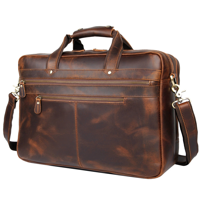 Polare 17'' Computer Briefcase Business Case For Men With Full Grain Leather