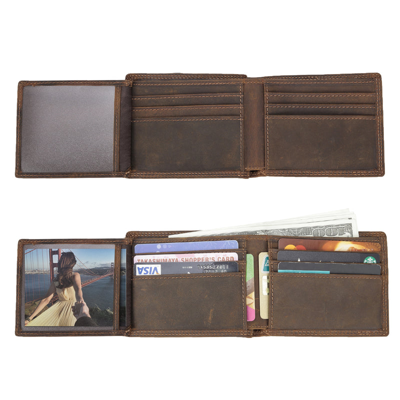 Polare RFID Blocking Cowhide Leather Bifold Wallet with 2 ID Windows (Inside)