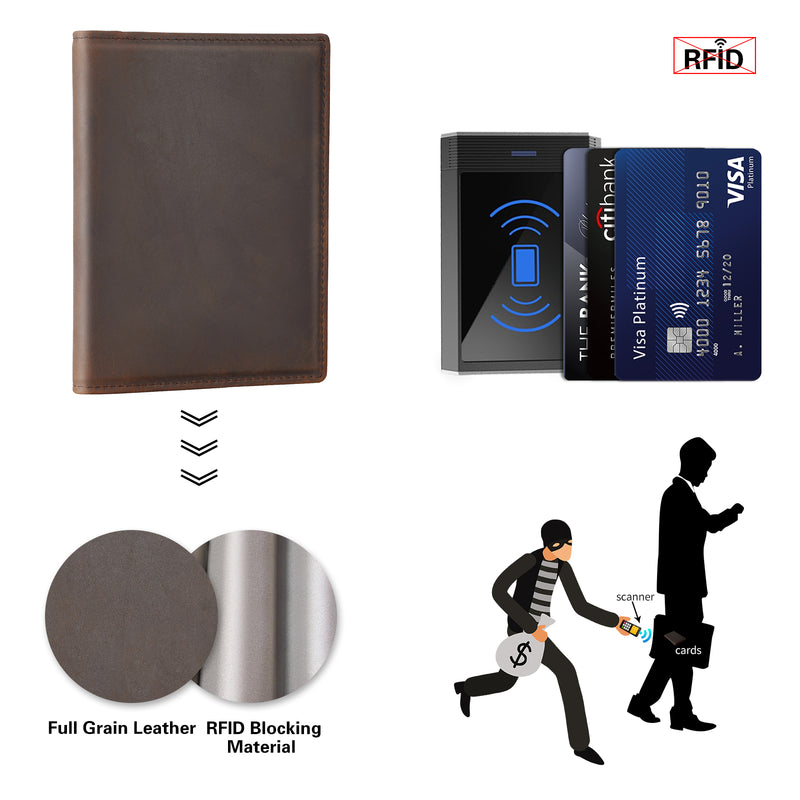 Polare RFID Blocking Leather Passport Holder Travel Bifold Wallet (Dark Brown,RFID Blocking)