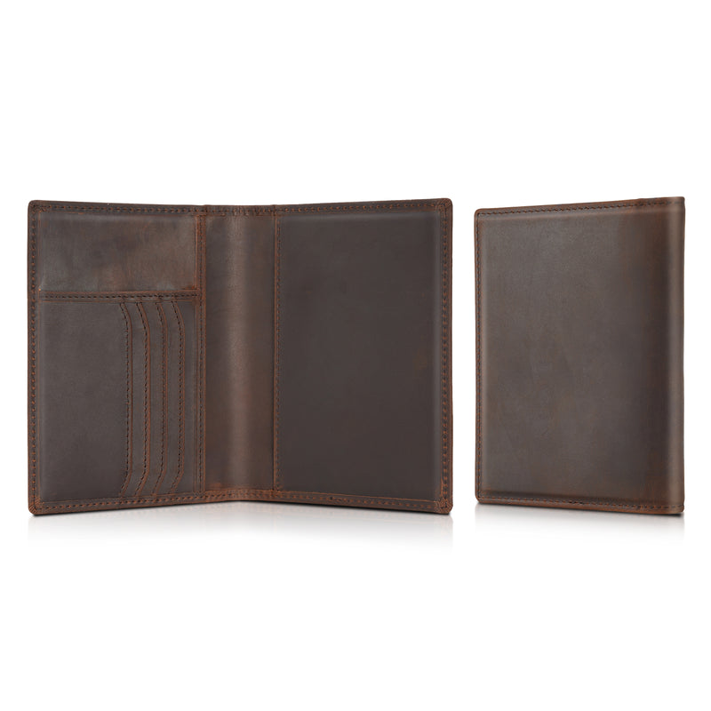 Polare RFID Blocking Leather Passport Holder Travel Bifold Wallet (Dark Brown,Inside)
