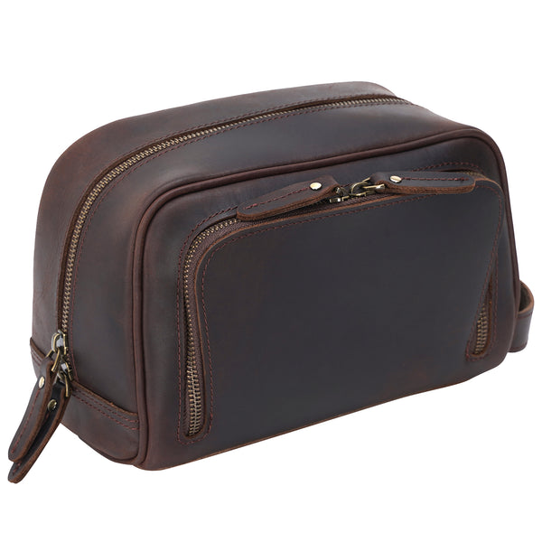 Polare Vintage Full Grain Leather Handmade Travel Toiletry Bag (Dark Brown, Front)