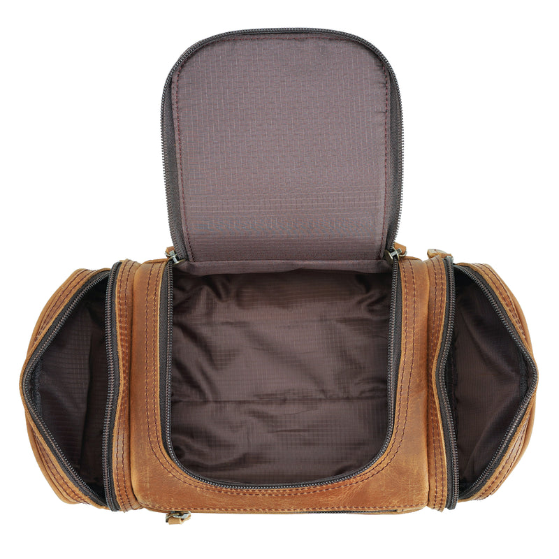 Polare Toiletry Bag Full Grain Leather Travel Case Wash Bag (Inside)