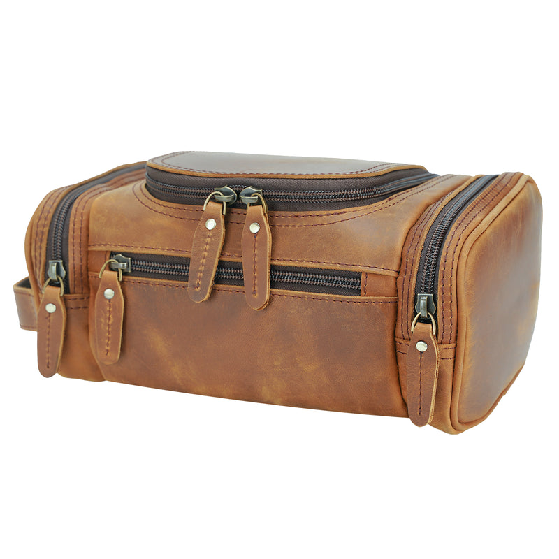 Polare Toiletry Bag Full Grain Leather Travel Case Wash Bag (Profile)