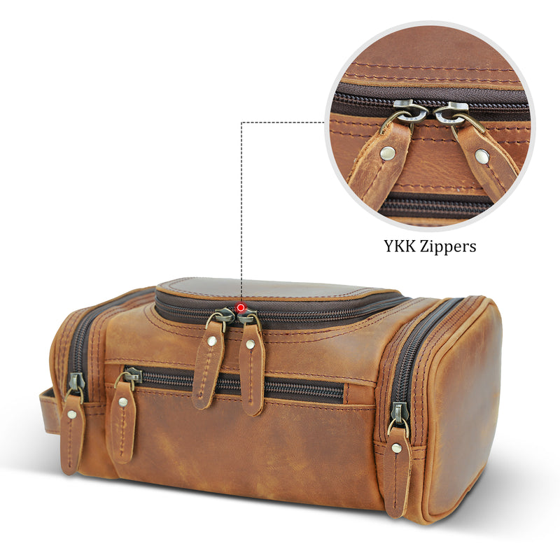 Polare Toiletry Bag Full Grain Leather Travel Case Wash Bag (YKK Zippers)