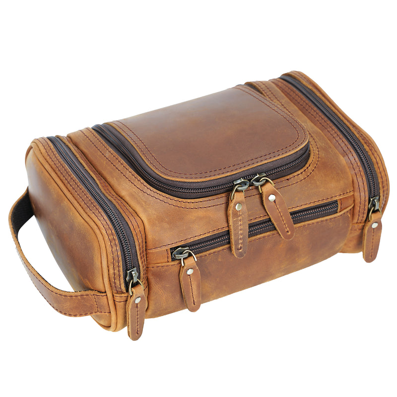 Polare Toiletry Bag Full Grain Leather Travel Case Wash Bag
