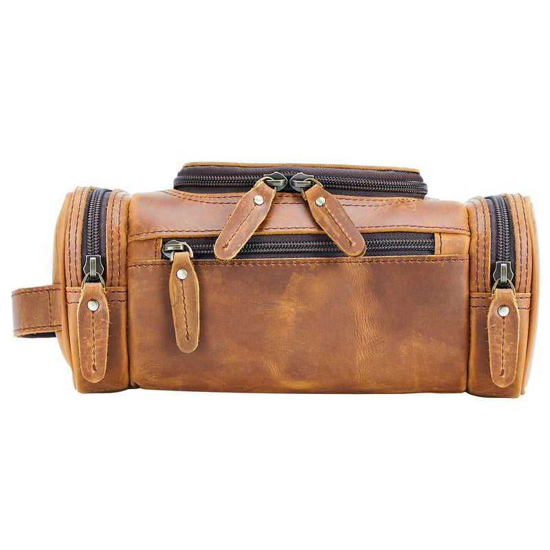 Polare Toiletry Bag Full Grain Leather Travel Case Wash Bag (Front)