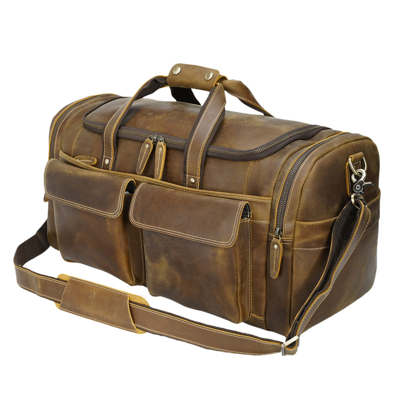 "Polare 22.8"" Duffel Retro Leather Gym Weekender Bag (Light Brown)"