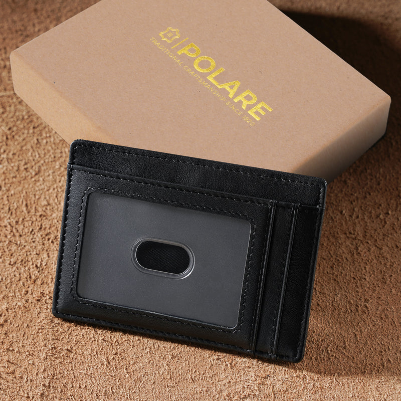 Polare Slim RFID Blocking Full Grain Leather Front Pocket Wallets (Black,Gift Box)