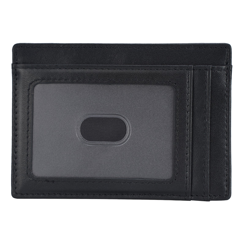 Polare Slim RFID Blocking Full Grain Leather Front Pocket Wallets (Black,Front)