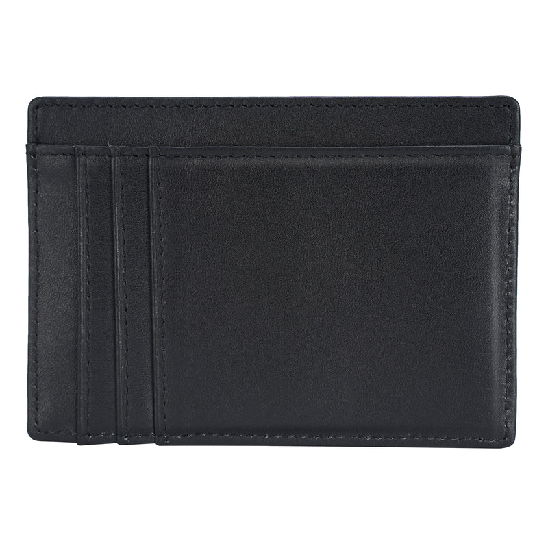 Polare Slim RFID Blocking Full Grain Leather Front Pocket Wallets (Black,Back)