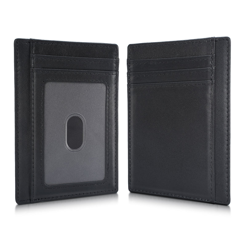 Polare Slim RFID Blocking Full Grain Leather Front Pocket Wallets (Black)
