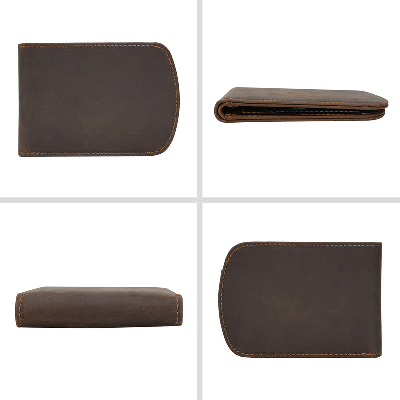 Polare Italian Real Leather RFID Blocking Bifold Wallet (Dark Brown)
