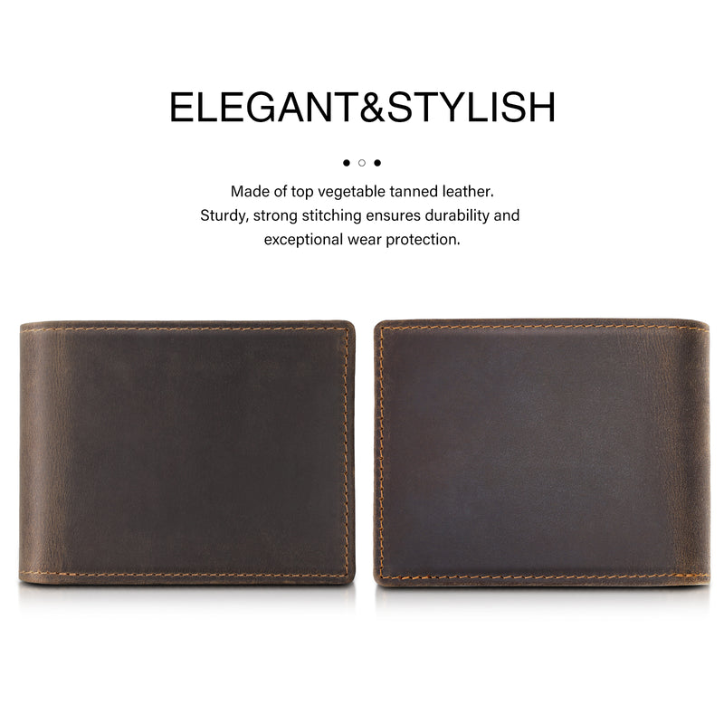Polare Cowhide Leather Bifold Wallet with 2 ID Windows (Dark Brown, Front/Back)
