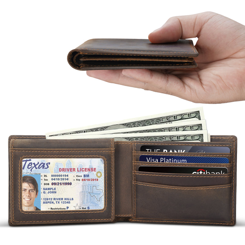 Polare Cowhide Leather Bifold Wallet with 2 ID Windows (Dark Brown,Details)