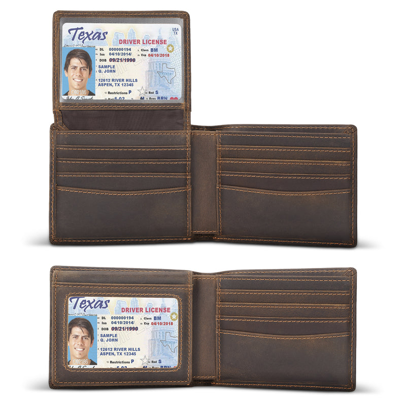 Polare Cowhide Leather Bifold Wallet with 2 ID Windows (Dark Brown, Inside)