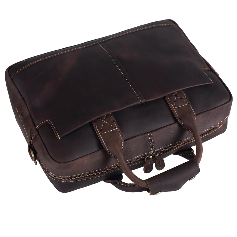 Polare Authentic Genuine Leather 16'' Laptop Case Bag Briefcase (Dark brown,Top)