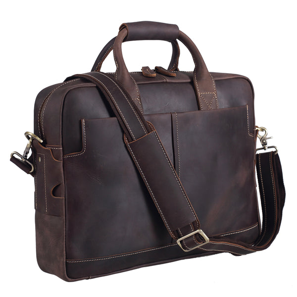 Polare Thick Authentic Genuine Leather 16'' Laptop Case Bag Briefcase (Dark Brown)