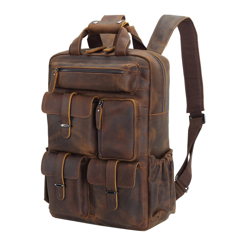 Polare Cowhide Leather Multiple Laptop Backpack (Dark Brown)