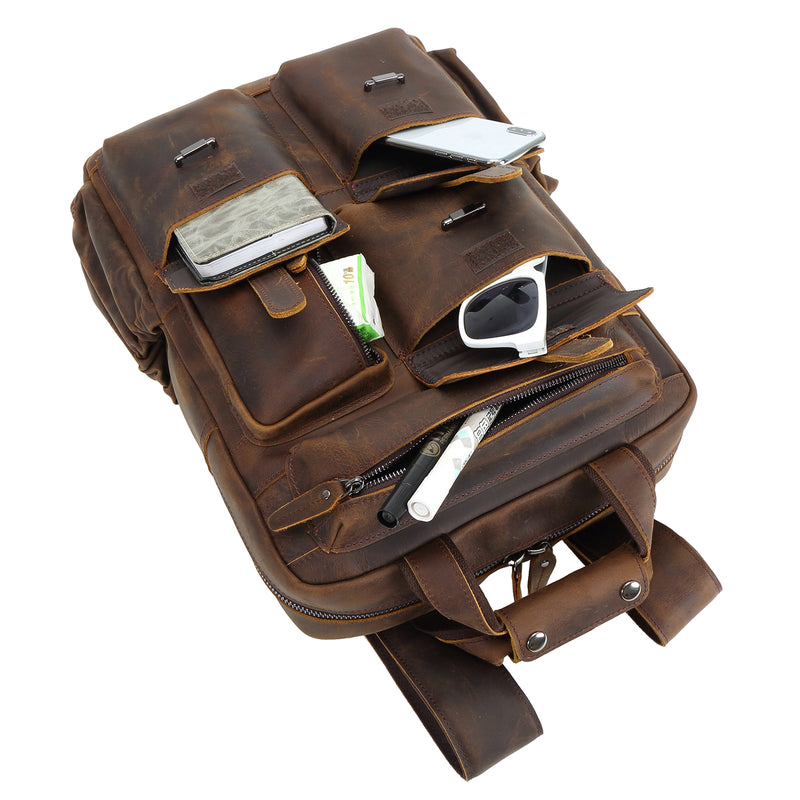 Polare Cowhide Leather Multiple Laptop Backpack (Dark Brown, Pockets)